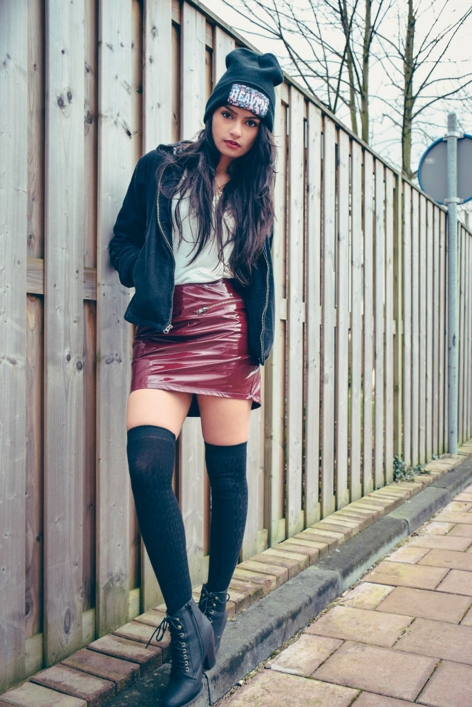 Beanie Bomber jacket knee high socks winter fashion