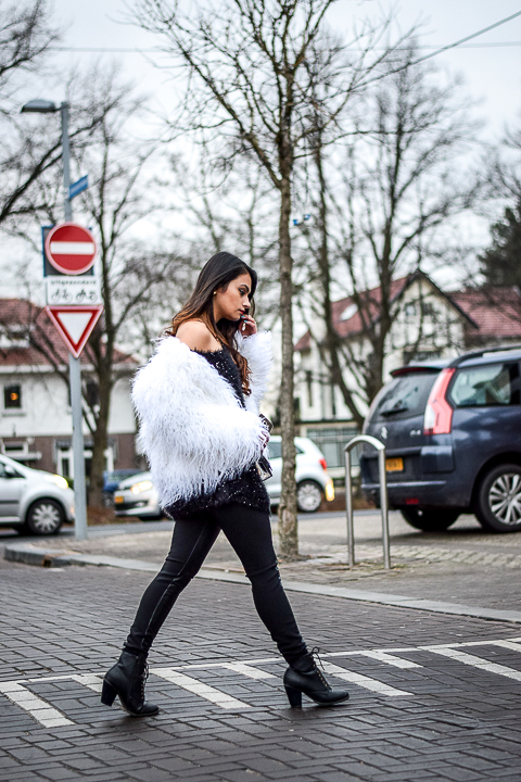 Faux white fur winter look shradsblog