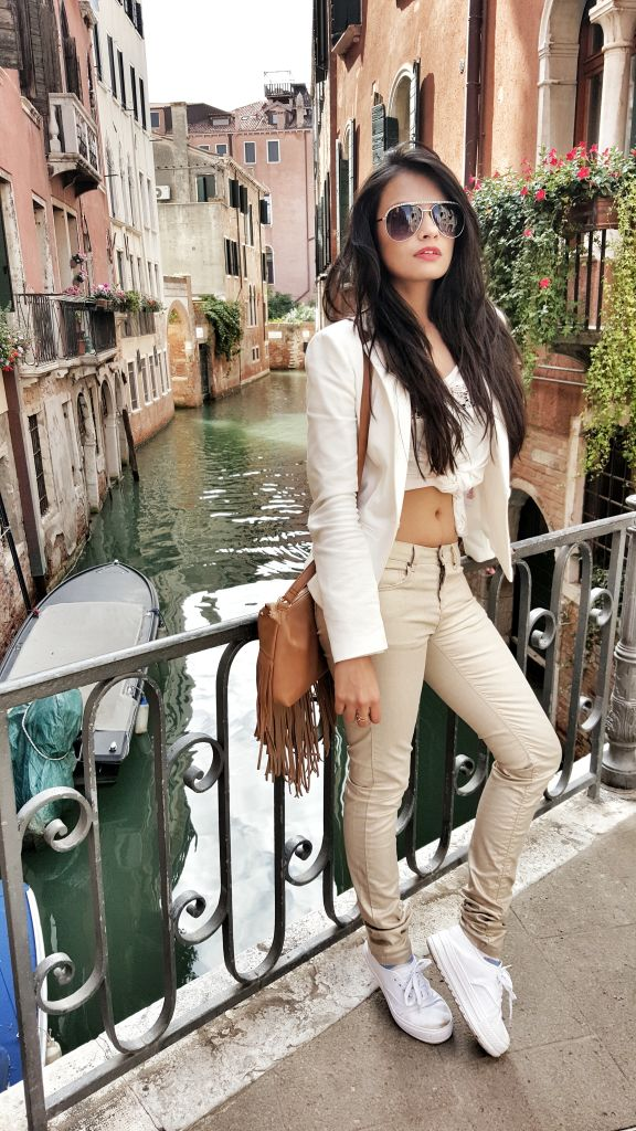 White Blazer crop top gold pants3
