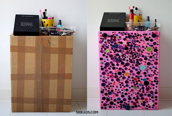 DIY : Cardboard Box into Makeup Stand