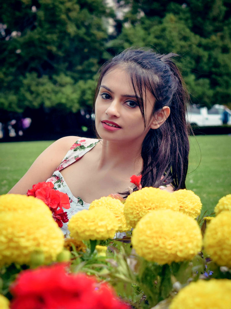 flowers beautiful girl