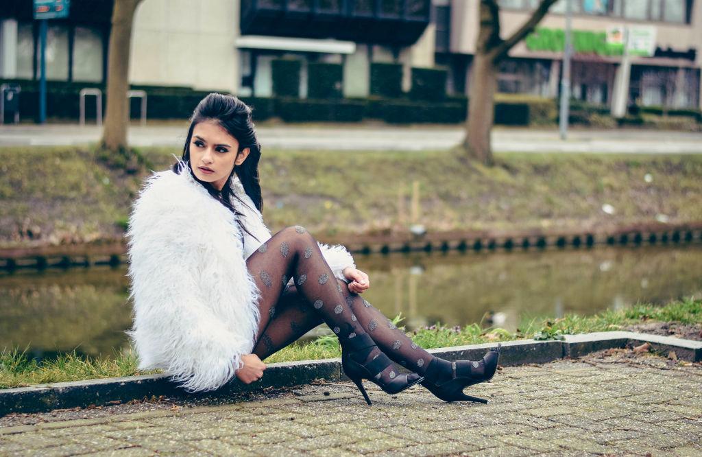fur jacket stockings