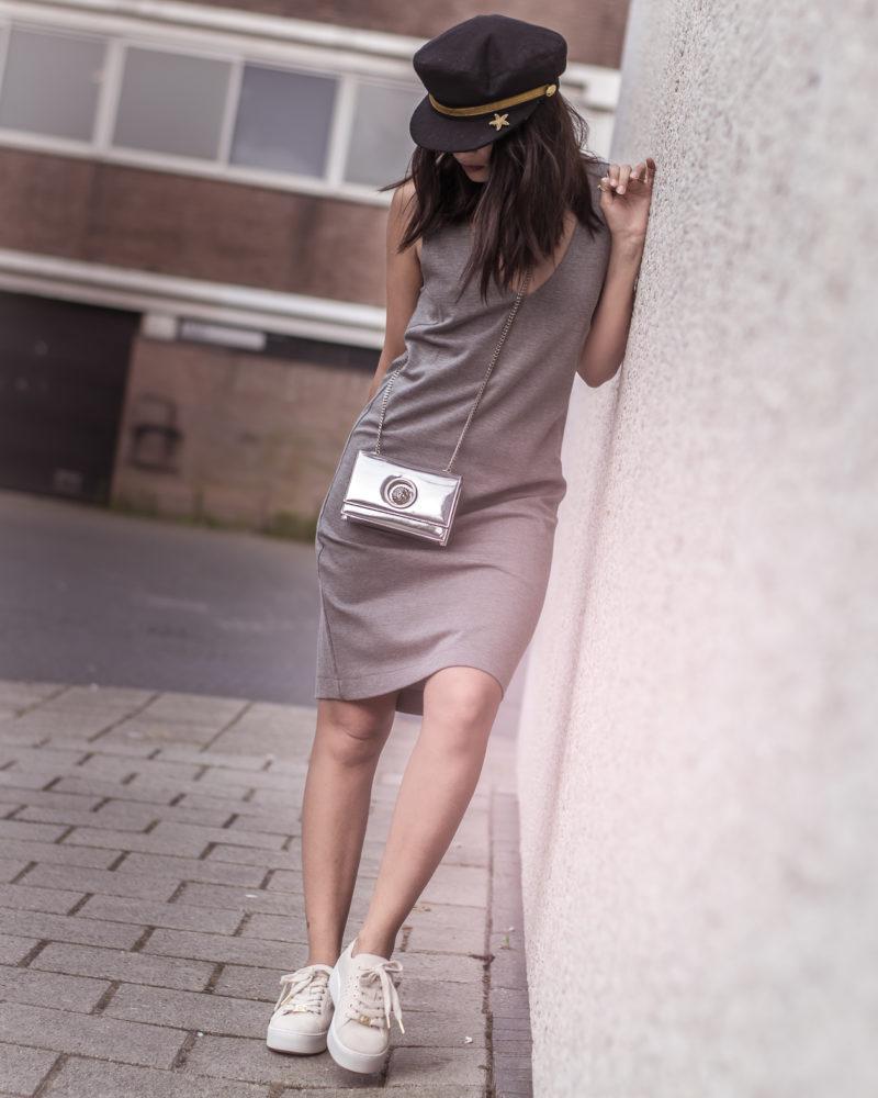 grey dress white shoes sailor cap shrads
