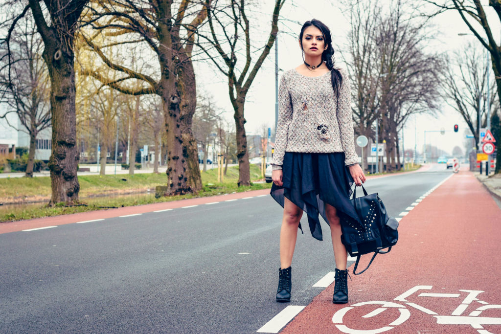 Ripped Sweater with High/Low Skirt