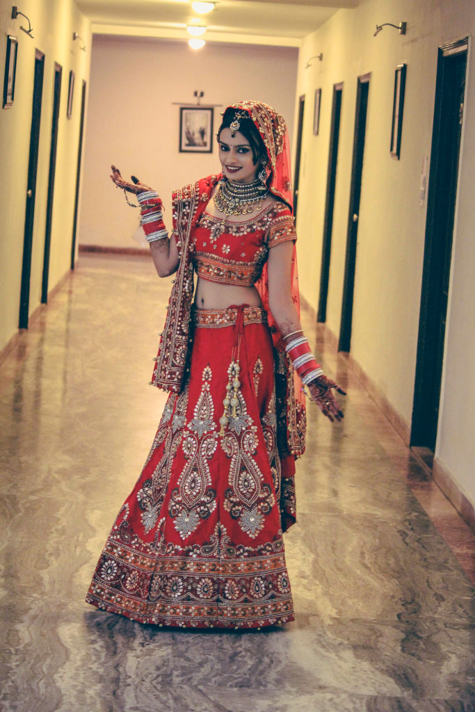 indian wedding bride red lehenga