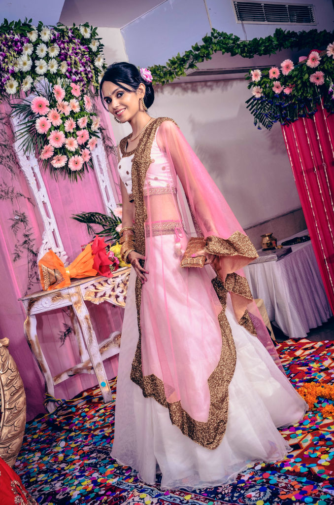 white and pink ethnic lehenga
