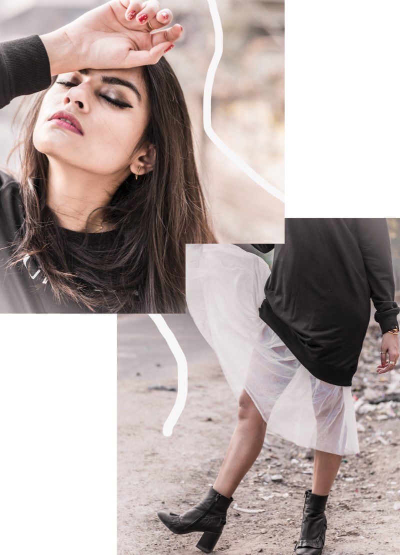 shradsblog black jumper white tulle skirt